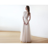 Champagne maxi tulle sleeveless gown