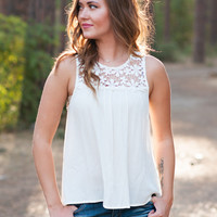 In Love With The Lace Up Blouse Tank Top (Cream)