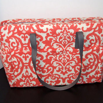 Tote/Diaper bag in beautiful coral screen print (Monogramming additional charge)