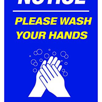 "Please Wash Your Hands 12""X18"" Retail Business Store Workplace Sign"