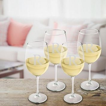 White Wine Glasses Set of 4 Free Engraving
