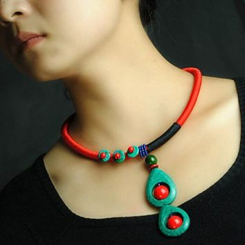 Elegant Peacock-feather Shaped Drop  Turquoise Necklaces Red Coral Beads