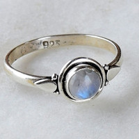 Moonstone Ring, Sterling Silver,Rainbow Moonstone, Gemstone Ring, Sterling Ring, Girls Rings , Simple Ring, Baby Ring