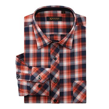 FLANNEL SHIRT Men's Long Sleeve Plaid Checked Shirt with Pocket