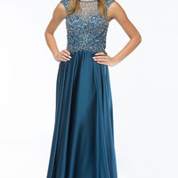 KC14112 Jeweled Sheer and Satin Evening Gown by Kari Chang Couture