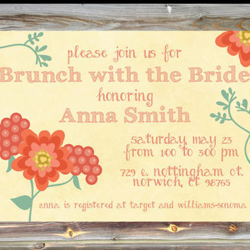 Personalized Bridal Brunch Invitation - Floral Theme Bridal Brunch Invitation - Bridal Tea Party - Custom Brunch with the Bride Invite