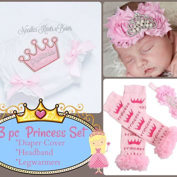 Girls Pink Princess Birthday Outfit, Birthday Bloomers, Baby Girls Princess Coming Home Outfit, Baby Girls Accessories