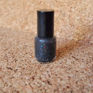 Black Nail Polish - handmade nontoxic 3 free downward spiral handcrafted nontoxic glitter shimmer goth emo trendy lacquer unique holographic
