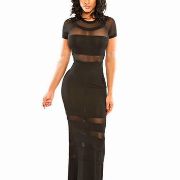 Black Mesh Embroidered Short Sleeve Bodycon Maxi Dress