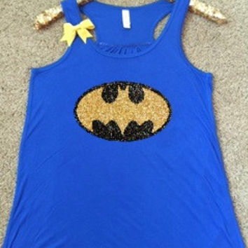 Batman Logo Shirt - Superhero Shirt - DC - Ruffles with Love - Glitter - Graphic Shirt