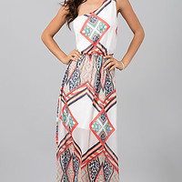 One Shoulder Floor Length Print Dress