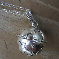 """Moon and Stars Harmony Ball Necklace, Bola Necklace, Pregnancy Necklace, Long Silver Necklace, 20mm and 36"""""""