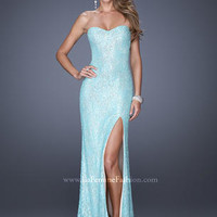 Prom Dresses 2014 - La Femme 19901 Long Sequin & Lace