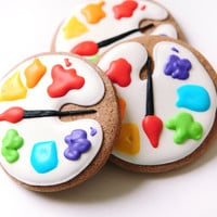 Artist Palette Sugar Cookies by guiltyconfections on Etsy