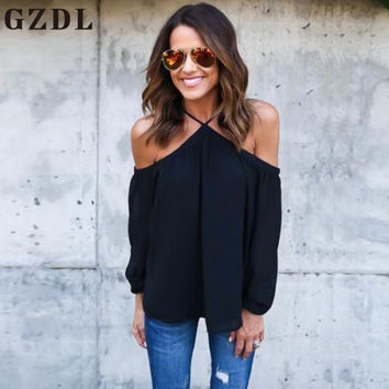 GZDL Fashion Spring Summer Women Ladies Off Shoulder Chiffon Tops Halter Neck Long Sleeve Shirt Casual Clubwear Blouses CL3578