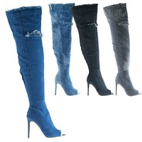 Barbara13 By Liliana, Over Knee Thigh High Peep Toe Distress Worn Out Jean Boots On High Heel