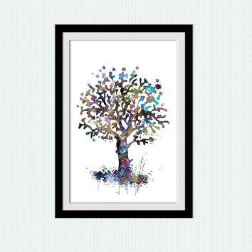 Tree watercolor print Winter tree colorful poster Tree illustration Home decoration Wall hanging art Wall art for gift Kids room art  W234