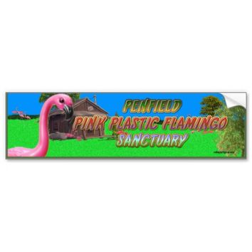 penfield pink plastic flamingo sanctuary car bumper sticker