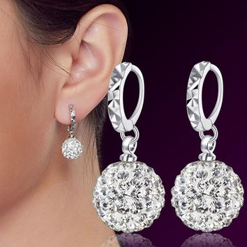 LMFET7 Fashion 925 Sterling Silver Earrings Women Ear Jewelry Luxury CZ Diamond Crystal Drop Earrings Rhinestone Ball Hanging Earrings