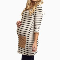 Black-Striped-Suede-Pocket-Maternity-Top