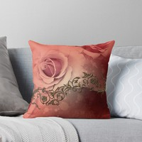 'Wonderful roses and floral elements' Throw Pillow by nicky2342