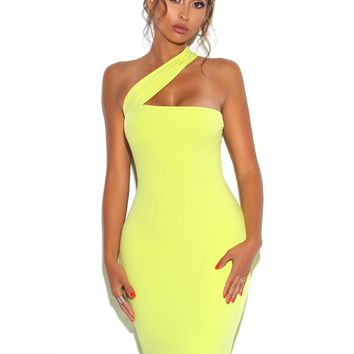Kinda Kute Neon Lime One Shoulder Wrap Stretch Crepe Dress