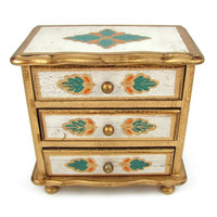 Tinkly Tune - Vintage Florentine Jewelry Chest & Music Box, Gilded Wood with Turquoise and Orange Leaf Motif, Plays Love Story