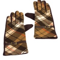 Designer Inspired Plaid Printed Gloves
