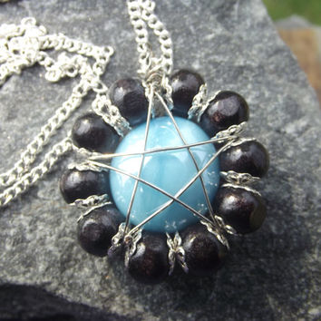 Wire Wrapped Pentagram Aqua Blue Glass And Wood Bead Design On 18 Inch Chain Necklace