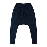 Men Casual Pocket Front Tapered Leg Baggy Harem Pants dark blue