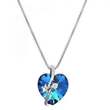 Gold Layered Fancy Necklace, Heart and Star Design, with Swarovski Crystals and Micro Pave, Rhodium Tone