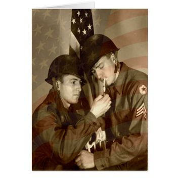 Vintage Military WWII Photo -Veterans Day Greeting Card