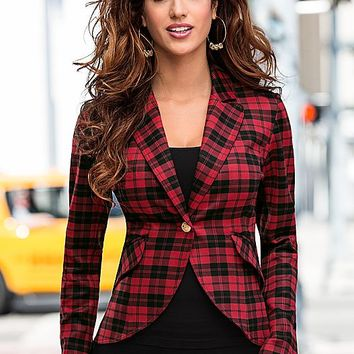 Women's Seamless cami,plaid blazer