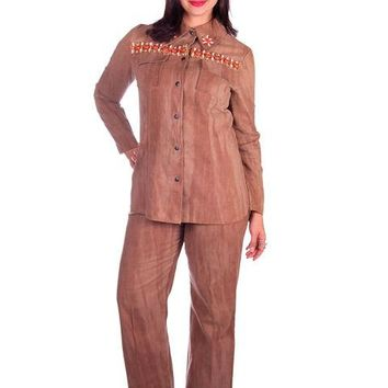 Vintage Brown Chambray Pant Suit Embellished Holy 1970s Batman 40-30-40
