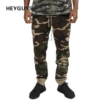 HEYGUYS 2017 fashion camo loose Long Pant Men cargo pants sweatpants Trousers Fashion Fitted Bottoms street wear hiphop