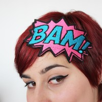 Bam comic headband pink and turquoise embroidered by janinebasil