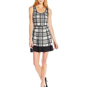 Trixxi Junior's Plaid Knit Dress