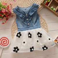 Baby Girls Toddler Clothes Denim Top Sun Flower Princess Tutu Dresses Skirt 0-4Y = 1930259076