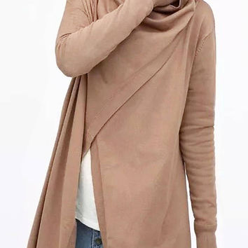 Light Brown Drape knitted Cardigan