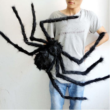 30cm 50cm 75cm Halloween Decoration Spider Haunted House Prop Indoor Outdoor Plush Halloween Spider Party Decoration