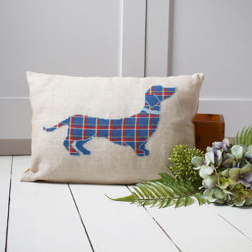 Tartan Dachshund Cross Stitch Cushion Cover Kit