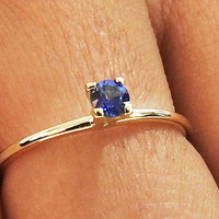 Engagement Ring, Solitaire Ring, Sapphire Ring, Thin Ring 14K or 18K Yellow gold, September Birthstone
