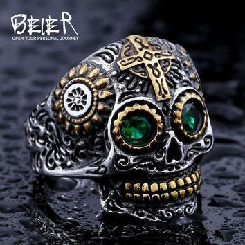 BEIER Cool Men's Gothic Carving Ring Man Stainless Steel High Quality Detail Biker Skull Jewelry For Boy BR8-327
