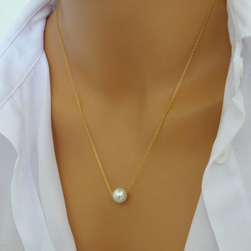 Floating Single Pearl Necklace 14k gold fill,Layered necklace, Bridesmaid necklace, pearl necklace PNGF1