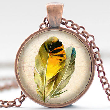 Yellow Feather Necklace, Bird Feather Jewelry, Feather Pendant (1239)