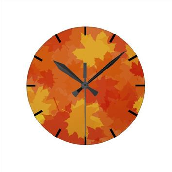 Fall Leaves Round Clock