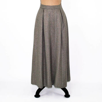 Vintage High Waist Wool Skirt with Pockets Winter Skirt Long Tweed Skirt Gray Taupe Pleated Full Skirt Maxi Vintage Clothing Womens Clothing