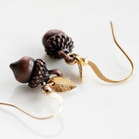 Tiny Leaf Acorn Earrings Chocolate Brown Woodland Beauty Oak Tree Nut Forest Nature Jewelry - E242