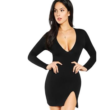 Fashion Long Sleeve  Black Slit Front Form Fit Sexy Dress Women Short Party Dress