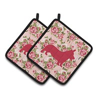 Corgi Shabby Chic Pink Roses  Pair of Pot Holders BB1069-RS-PK-PTHD